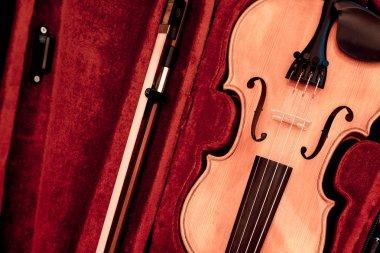 Close up of a violin shallow deep of fiel