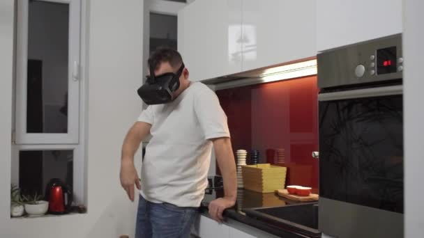 men enjoying vr headset in kitchen virtual reality goggles