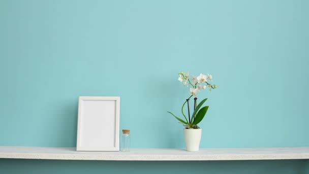 Modern room decoration with Picture frame mockup. White shelf against pastel turquoise wall with potted orchid and hand putting down violet plant.
