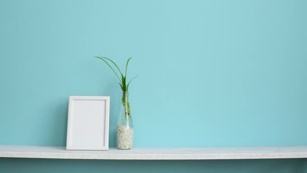 Modern room decoration with Picture frame mockup. White shelf against pastel turquoise wall with spider plant cuttings in water and hand putting down violet.