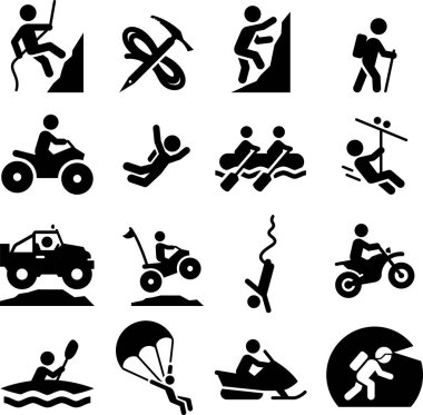 Mountaineering, rafting, climbing, off-roading and adventure vector icons