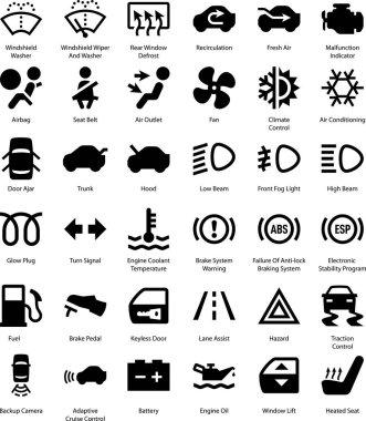 Car auto dashboard vector icons