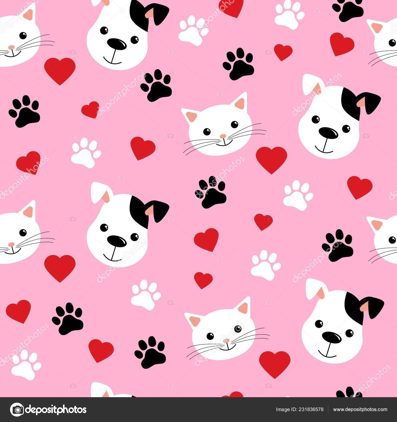 Background Cat And Dog Wallpaper Cartoon Cats And Dogs Seamless Pattern Showing Cute Cat And Dog For Pets Friendship Or Wallpaper Design Stock Vector C Yuliar 231836578