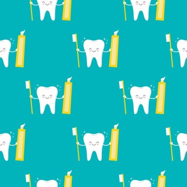 Cute smiling tooth character with brush and toothpaste seamless pattern background.