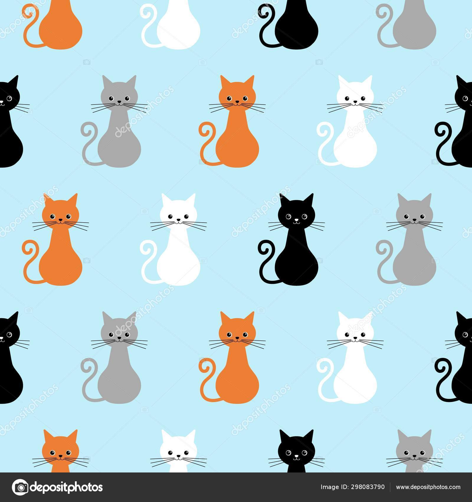 Seamless Pattern With Cute Cats Background With Gray White Black Ginger Kittens Stock Vector C Yuliar 298083790