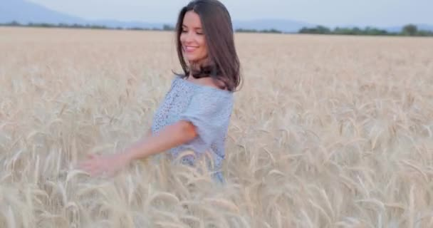 The beautiful young girl with long brunette hairs poses in the field with wheat, sunset light, turns, smiles, flirts,  happy, blue dress, France, Provence