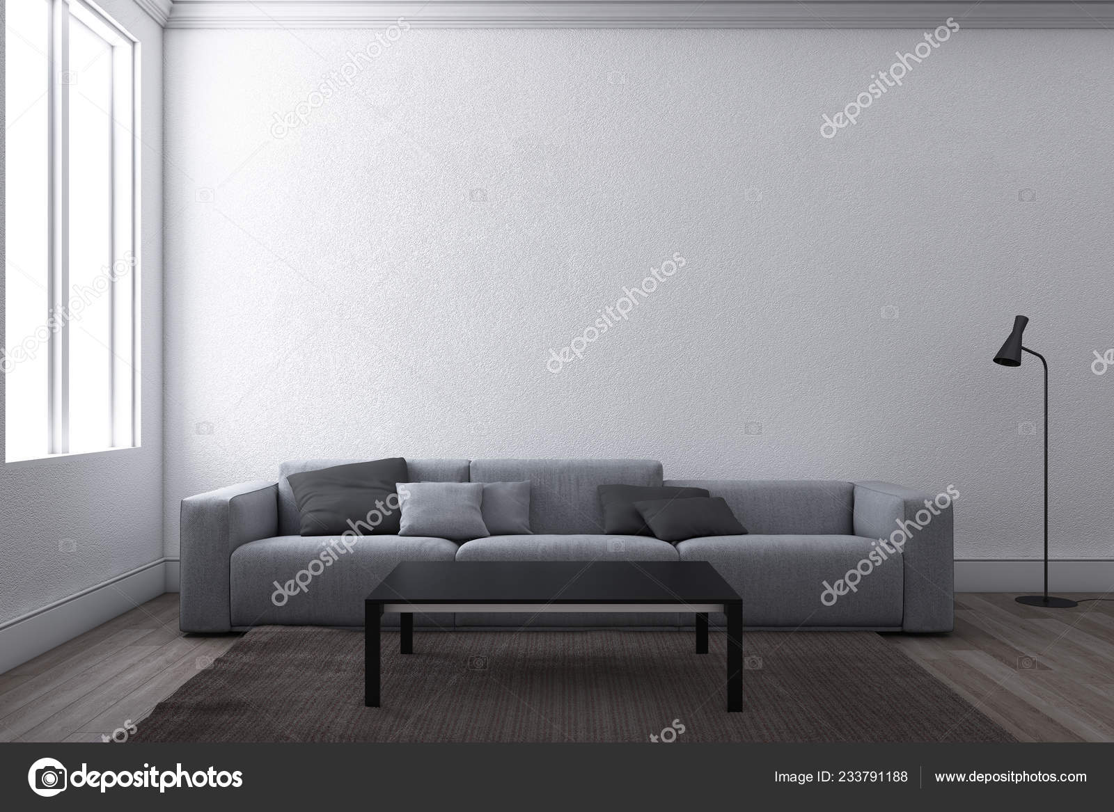 Contemporary Living Room Sofa Window White Wall Background ...