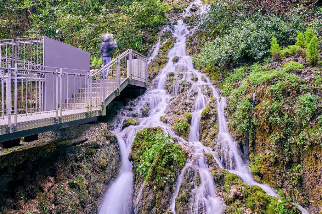 Waterfall Varone cave park near Lake Garda,view of the gorge of Varone, Trentino Alto Adige, Italy