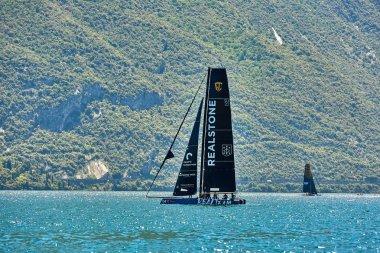 Riva del Garda,Lago di Garda ,Italy - 25 May 2018:Catamaran competes during  for the first GC32 World Championship out of Riva del Garda, Italy.The speed races of the sailing GC 3