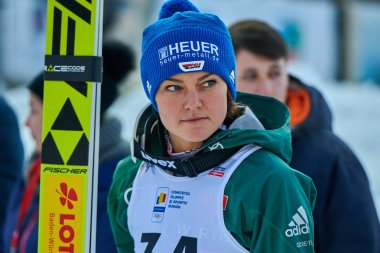 Rasnov, Romania - 25-27 January 2019:2 placed Carina Vogt of Norway poses on the podium after the Ladies ski jumping event of the Ladies' FIS World Cup Ski Jumping in Rasnov