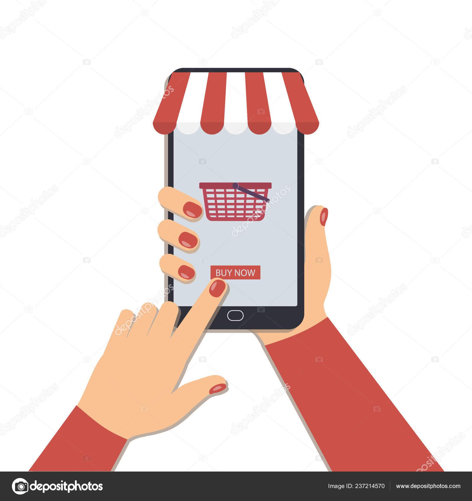 f6c117eb67a Понятие Онлайн Покупки Помощью Мобильного Телефона Красивая Женщина ...