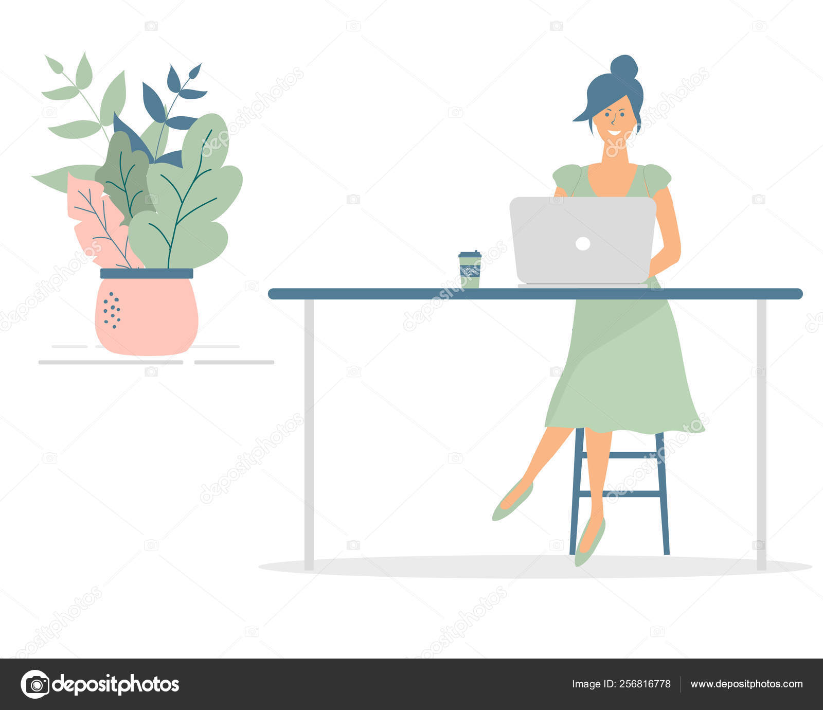 Miraculous Cute Woman Freelancer Work Computer Table Successful Female Ocoug Best Dining Table And Chair Ideas Images Ocougorg