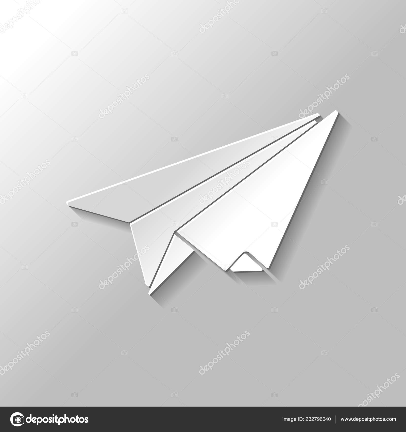 Paper Plane Origami Glider Paper Style Shadow Gray