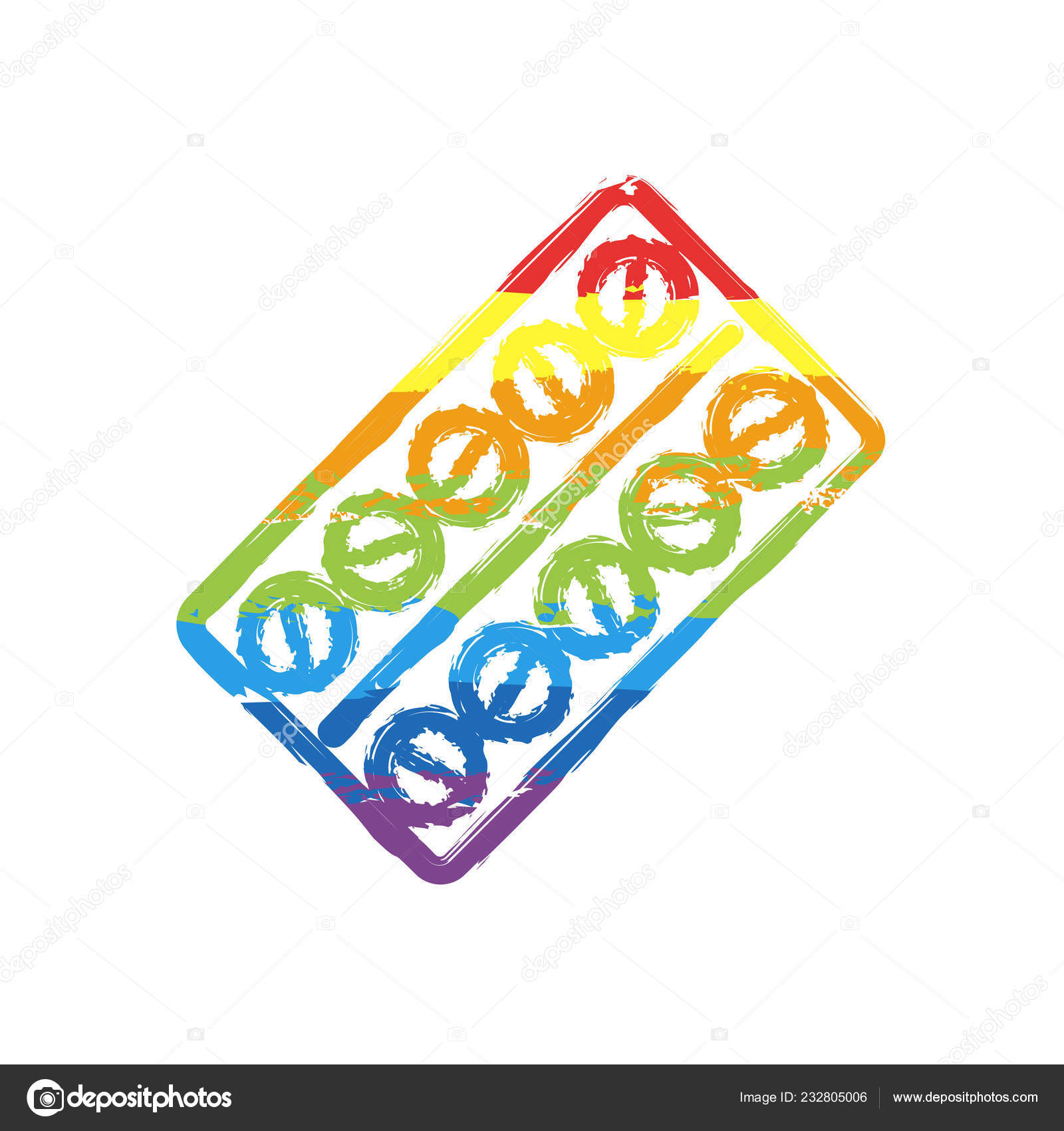 Pack Pills Icon Drawing Sign Lgbt Style Seven Colors Rainbow