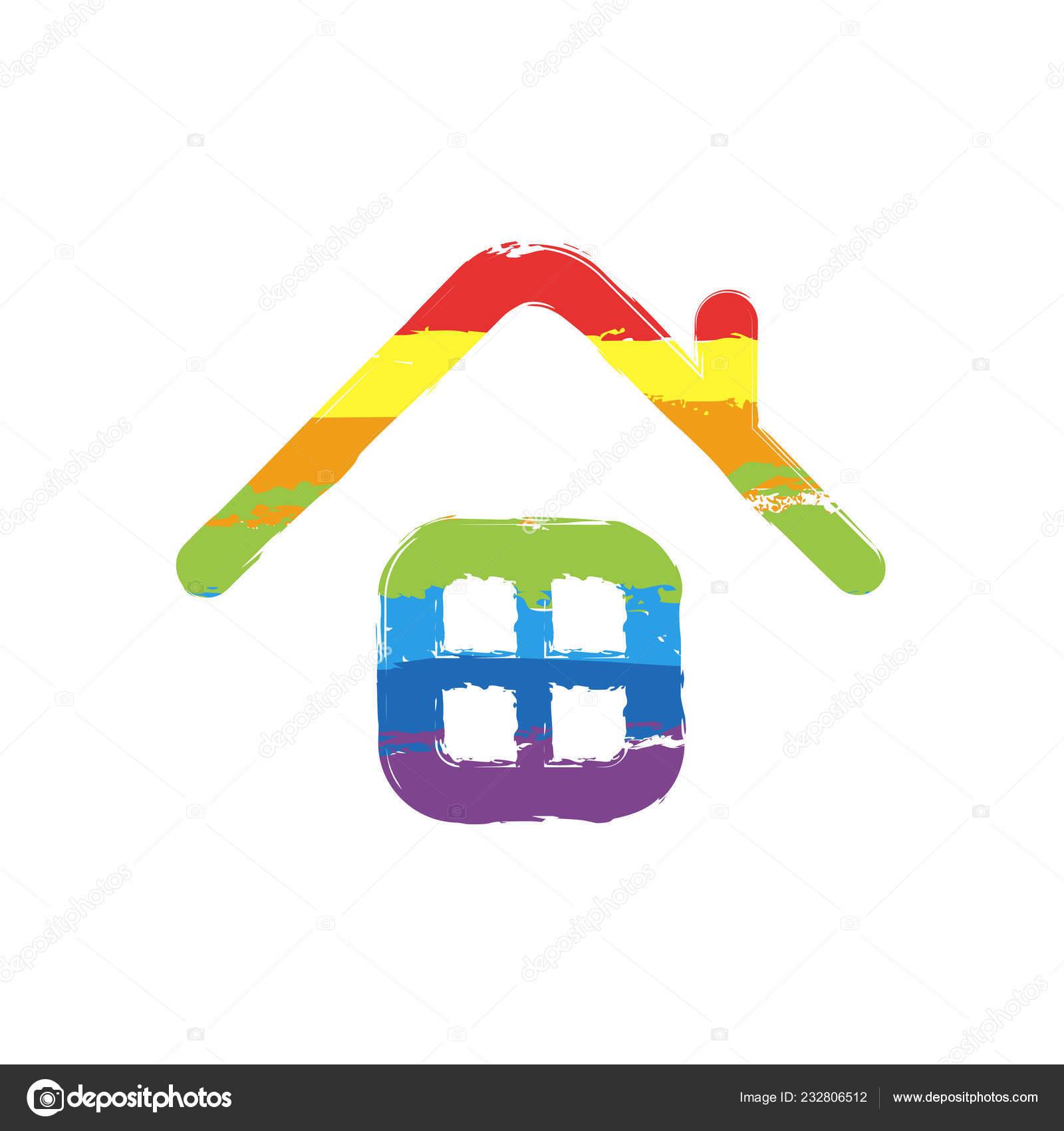 Icône Maison Simple Dessin Signe Avec Style Lgbt Sept