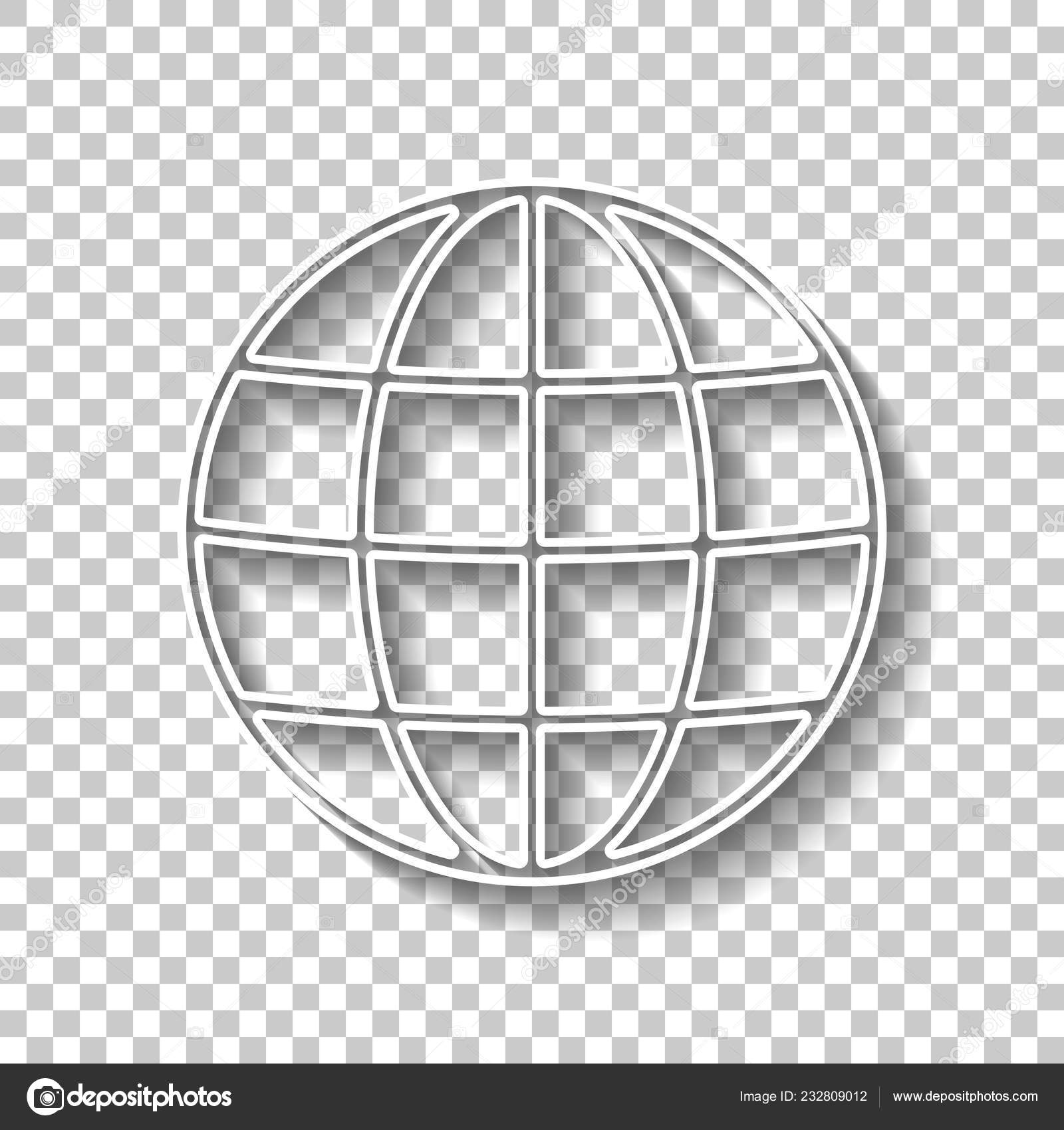 Simple Globe Icon Linear Thin Outline White Outline Sign