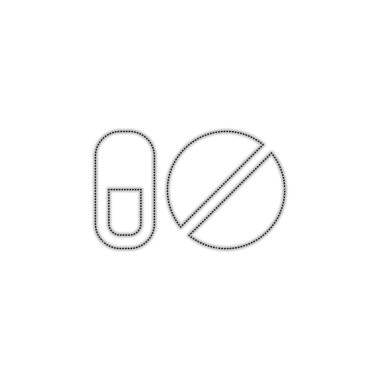 simple symbols of pills or vitamins. Dotted outline silhouette with shadow on white background