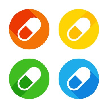 simple symbol of pill or vitamin. Flat white icon on colored circles background. Four different long shadows in each corners
