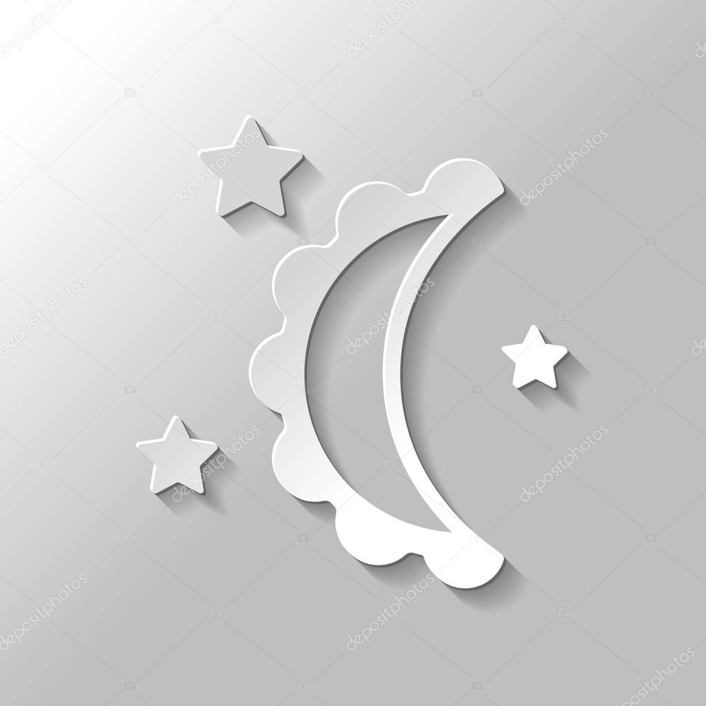 moon and stars. simple silhouette. Paper style with shadow on gray background