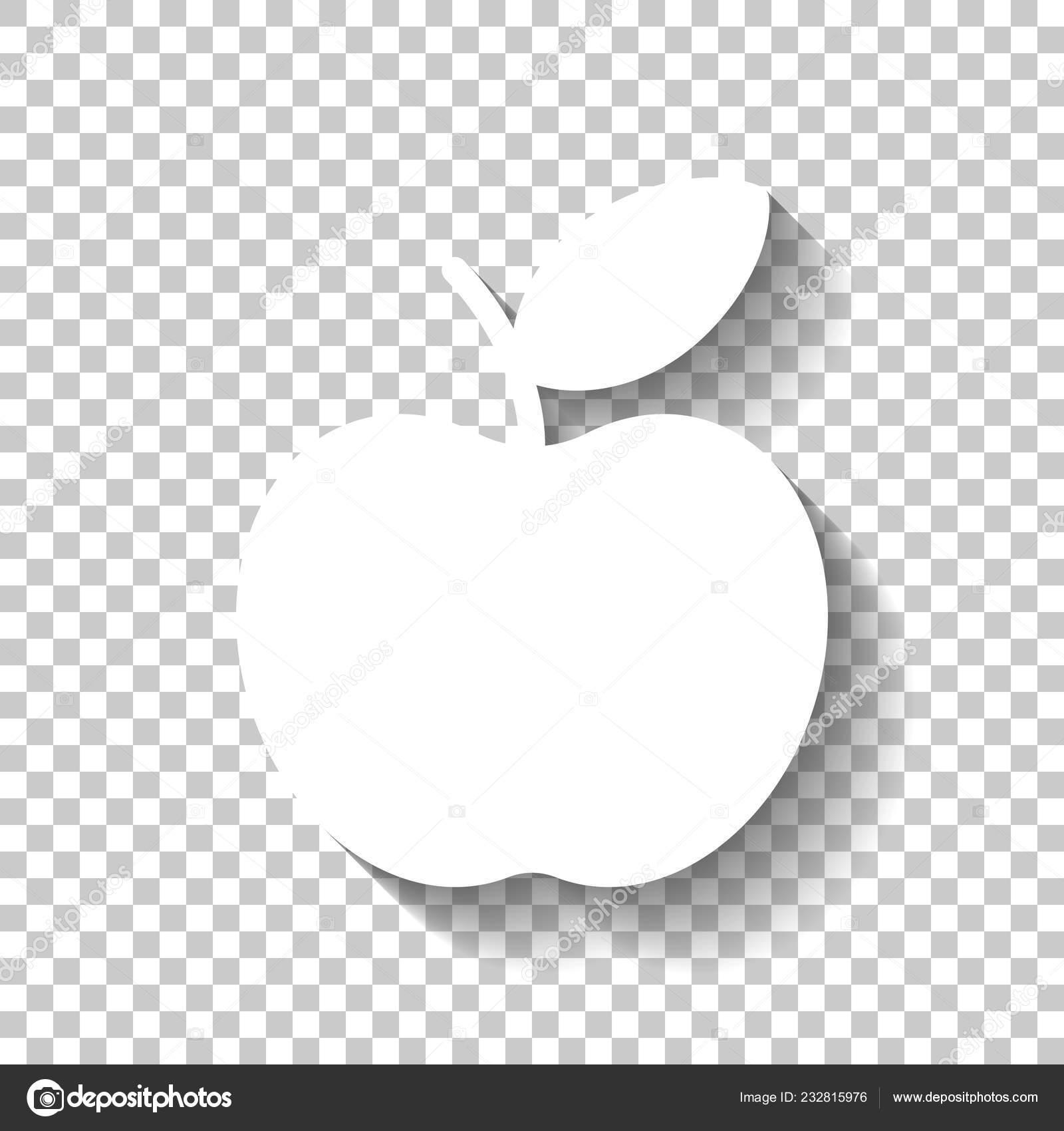 Simple Apple Icon White Icon Shadow Transparent Background