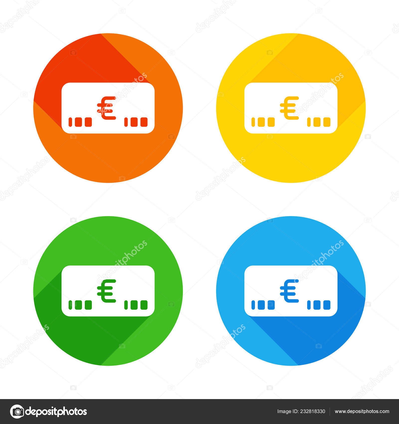 Money Voutcher Euro Card Icon Flat White Icon Colored Circles