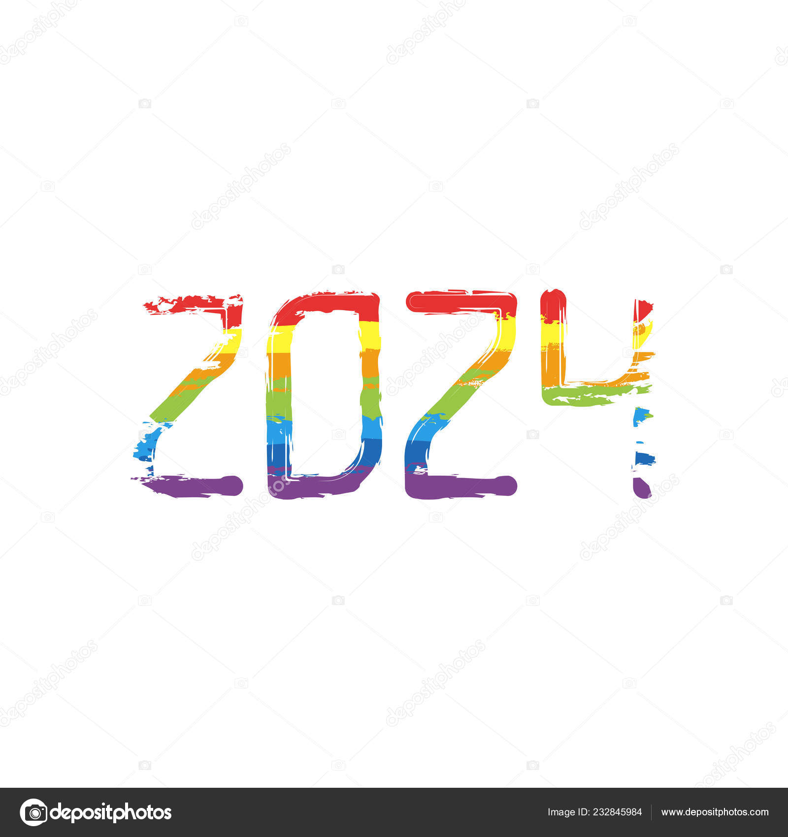 1c3fee390f1 2024 number icon. Happy New Year. Drawing sign with LGBT style, seven  colors of rainbow (red, orange, yellow, green, blue, indigo, violet —  Vector by ...