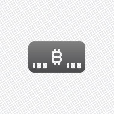 Electronic money icon. Bitcoin card. On grid background