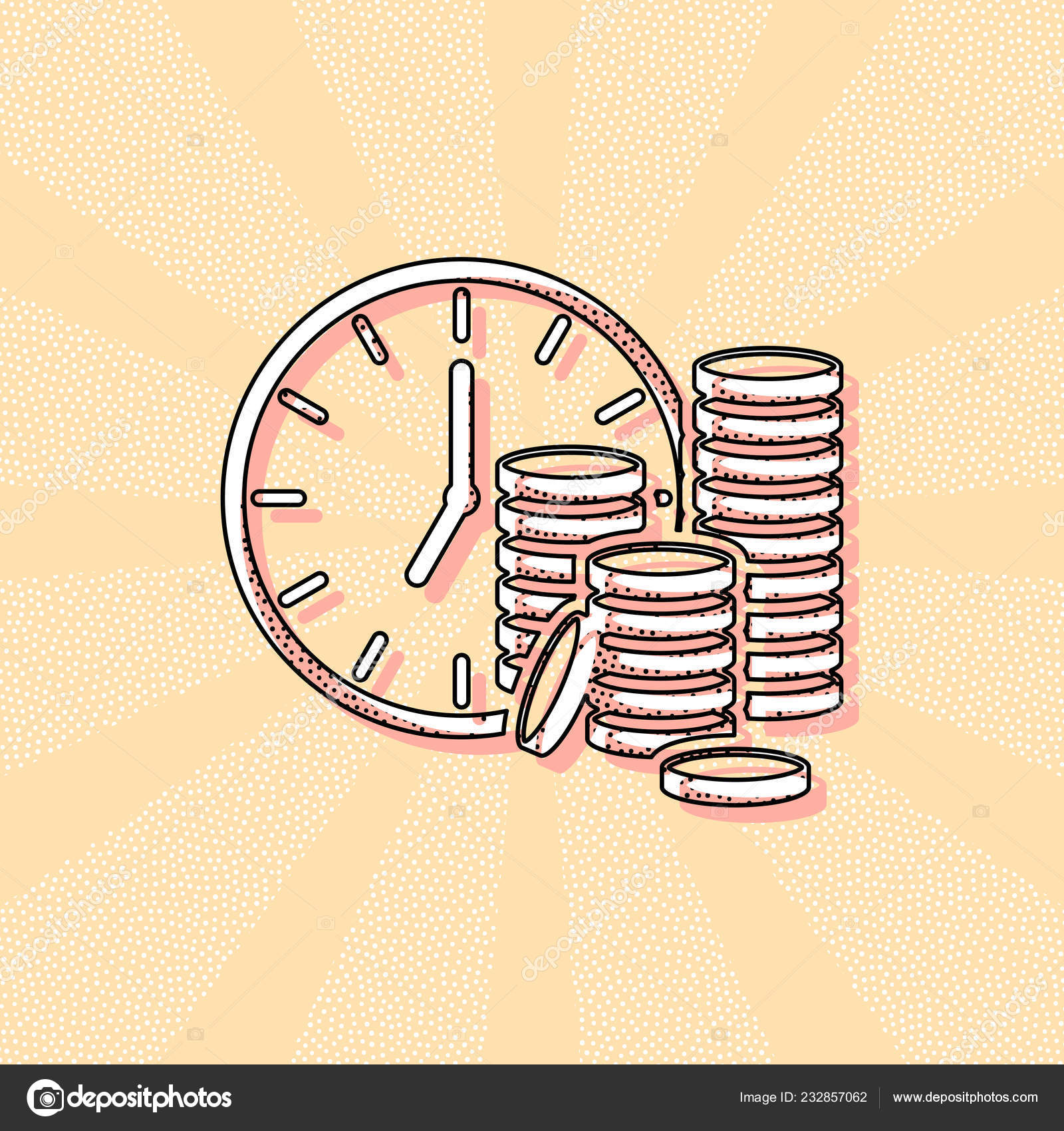 Time Money Clock Coin Stack Finance Icon Vintage Retro