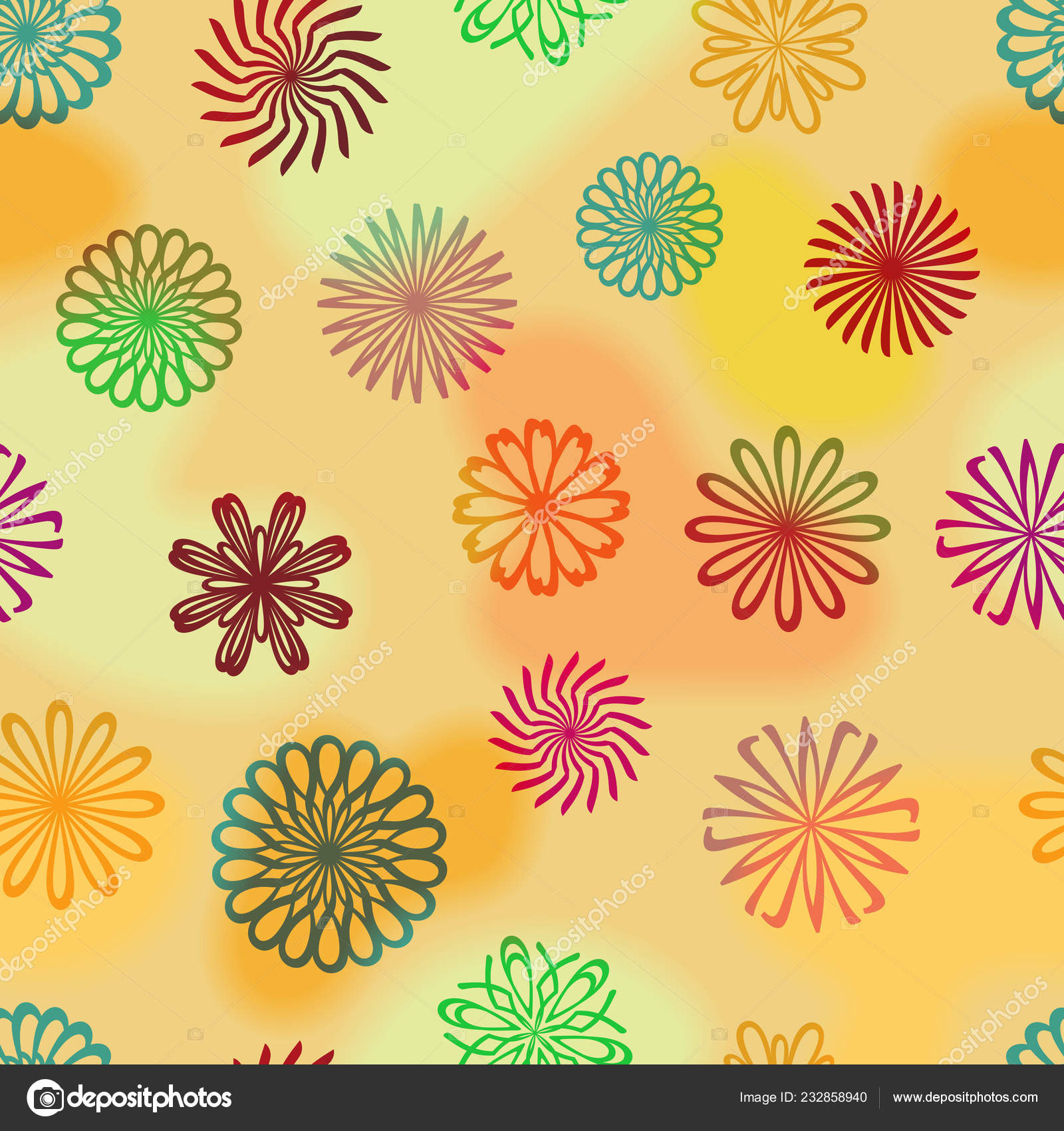 Abstract Colored Flowers Blurred Background Gift Paper