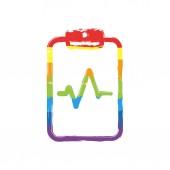 Tábla-papír, és a pulzus a vonal. Lineáris, vékony vázlat. Rajz jel LMBT stílus, hét színek (vörös, narancs, sárga, zöld, kék, indigó, violet rainbow