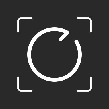 Simple arrow, update, reload, clockwise direction, forward. Navigation icon. Linear symbol with thin line. One line style. White object in camera autofocus on dark background