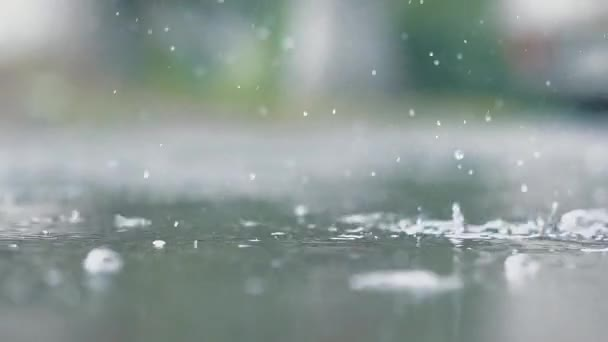 It is raining outside. Rain drops break in puddle