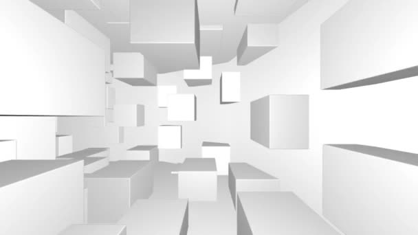 Flying Through a Tunnel of Random Cubes With Turns. Looped video with rotation in a circle.