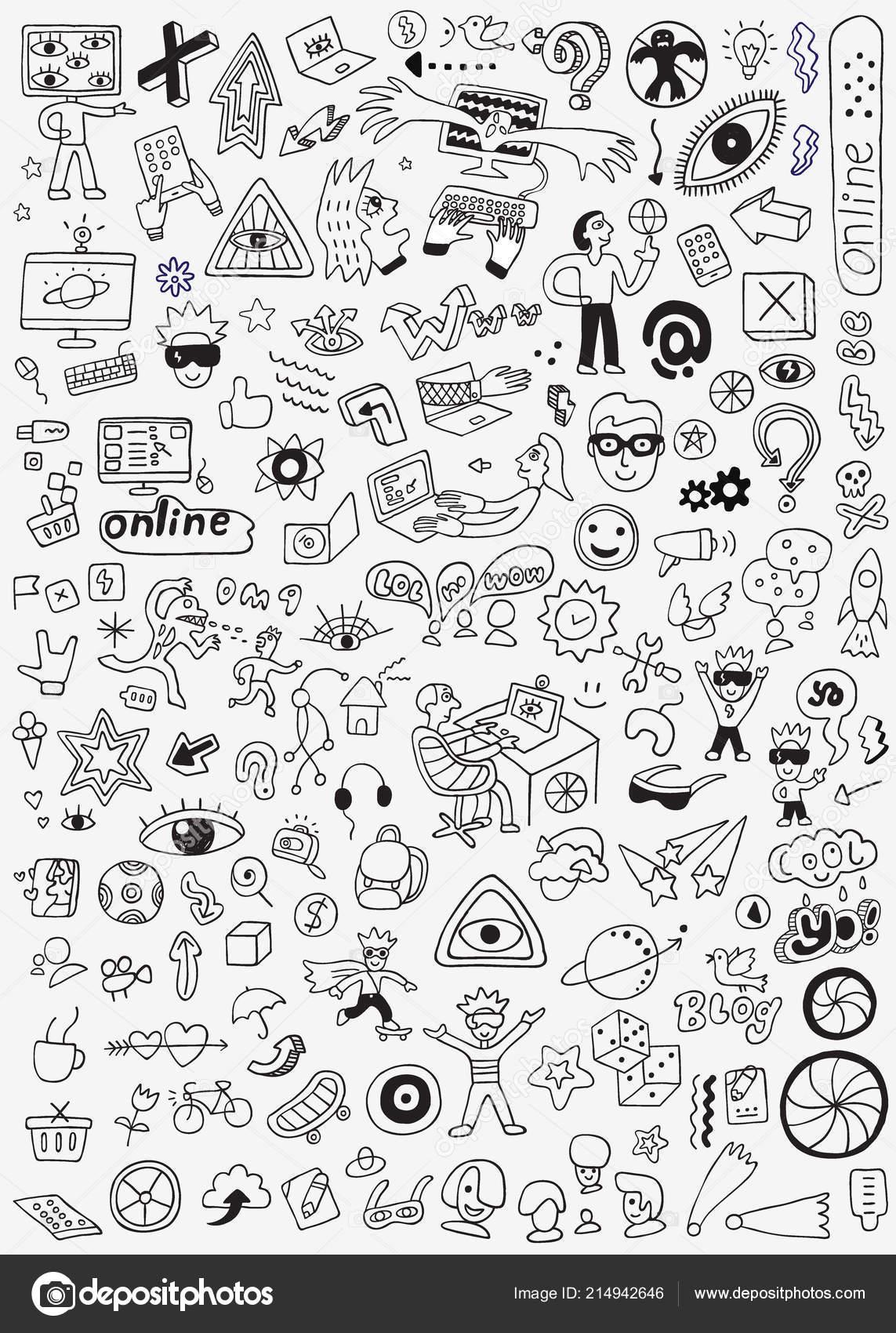 Disegni Cartoni Animati A Matita Tecnologia Internet Scarabocchio