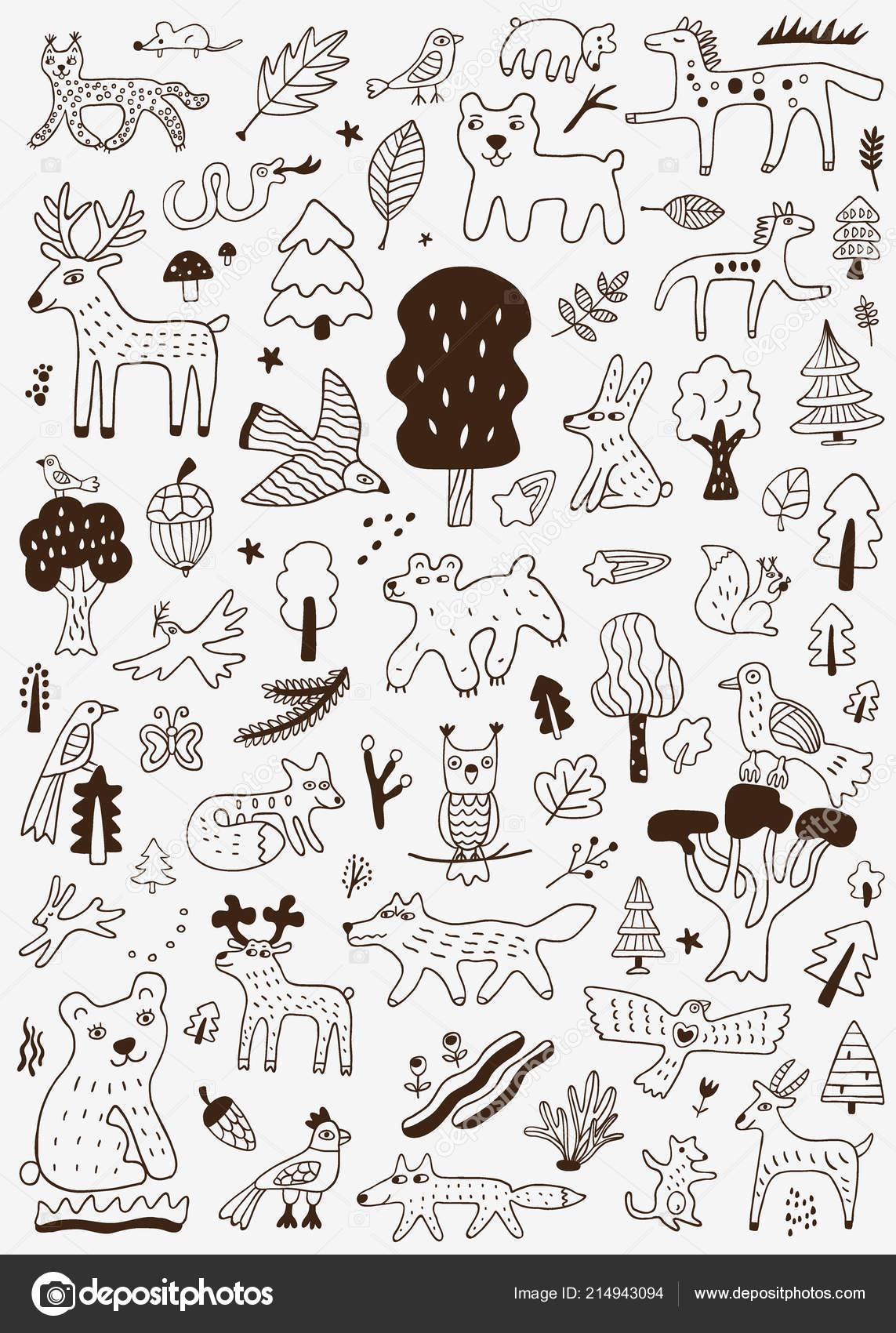Lesni Zvirata Priroda Symboly Doodle Sada Kresby Tuzkou Stock