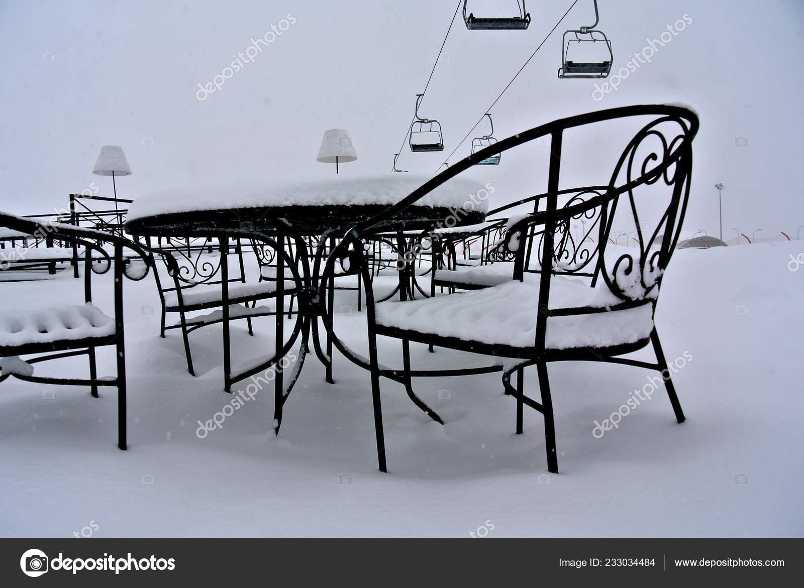 кафе зиму подъемника горнолыжном курорте гудаури грузия стоковое