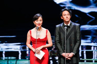 Hong Kong actress Carina Lau and Taiwanese actor Zhang Zhen give prize the 55th Golden Horse Awards in Taipei, Taiwan, 17 November 2018.