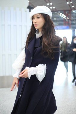 Taiwanese model and actress Lin Chi-ling is pictured at the Beijing Capital International Airport in Beijing, China, 19 November 2018.