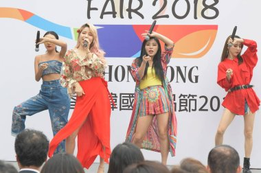 Members of South Korean girl group Mamamoo perform during the opening ceremony of K-Food Fair 2018 in Hong Kong, China, 17 October 2018.