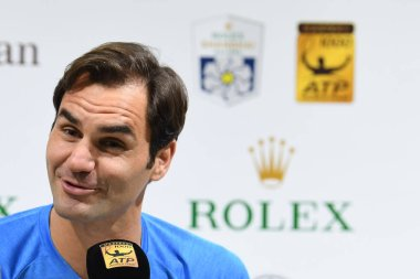 Swiss tennis star Roger Federer attends a press conference for the Rolex Shanghai Masters 2018 tennis tournament in Shanghai, China, 9 October 2018.