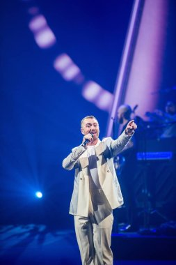 In this handout image, English singer-songwriter Sam Smith performs during his