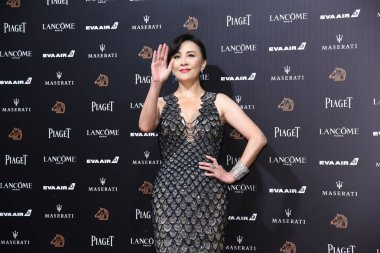 Hong Kong actress Carina Lau arrives on the red carpet for the 55th Golden Horse Awards in Taipei, Taiwan, 17 November 2018.