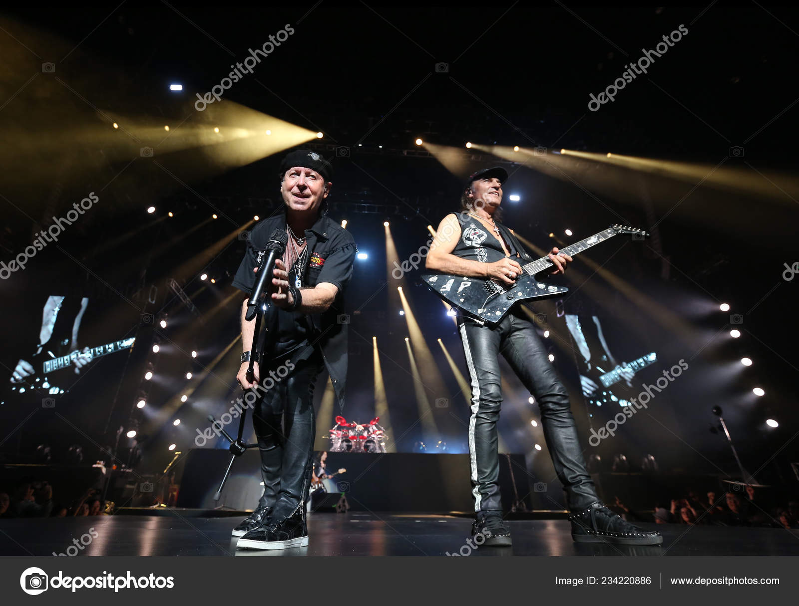 Members German Rock Band Scorpions Perform Crazy World Tour