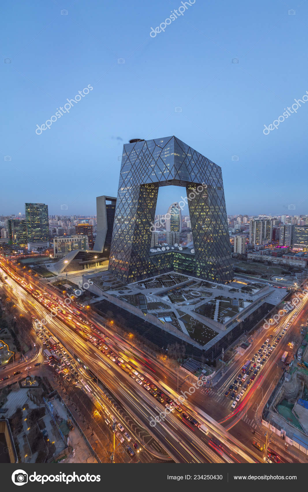 Night View Busy Roads Masses Vehicles Front New Cctv Tower