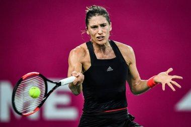 Andrea Petkovic of Germany returns a shot to Wang Qiang of China in their semifinal match during the WTA Guangzhou International Women's Open 2018 in Guangzhou city, south China's Guangdong province, 21 September 2018
