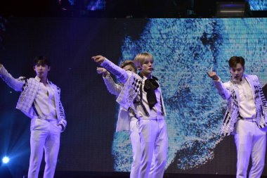 Members of South Korean boy group Monsta X perform during the Monsta X World Tour