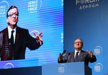 Jose Manuel Barroso, former President of the European Commission, attends the 7th World Peace Forum at Tsinghua University in Beijing, China, 14 July 2018