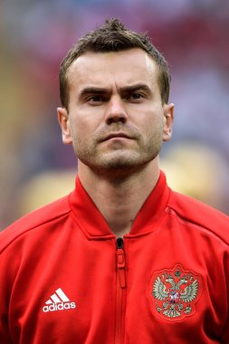 Head shot of Igor Akinfeev of the starting line-up of Russia in the Group A match against Saudi Arabia during the 2018 FIFA World Cup in Moscow, Russia, 14 June 2018.