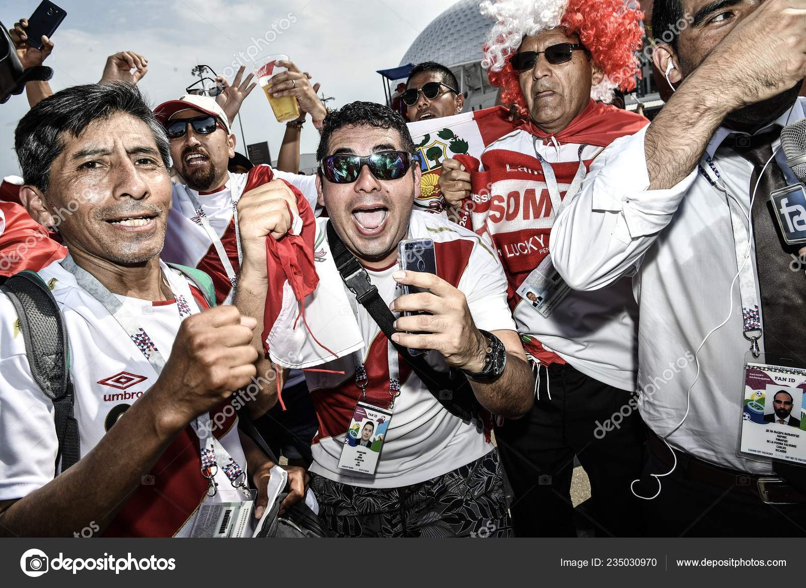 12d7e5a59bba2c Peruvian fans gather outside the Fisht Stadium before the group C match  between Australia and Peru during the FIFA World Cup 2018 in Sochi, Russia,  ...