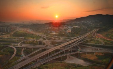 Scenery of the five-level Huangjuewan Overpass, the world's